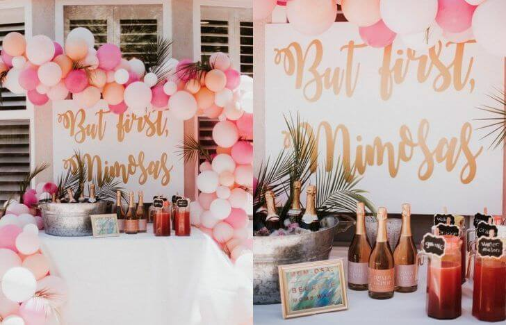 Food and drinks at a bachelorette party